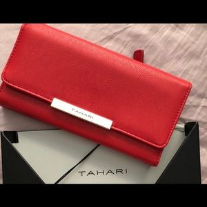 Tahari red leather wallet